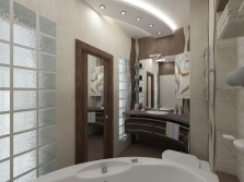 Brown color as an accent in the bathroom