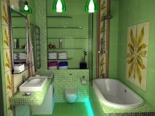 Bathroom in green with inserts neutral shades