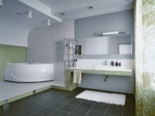 Grey bathroom with green and white
