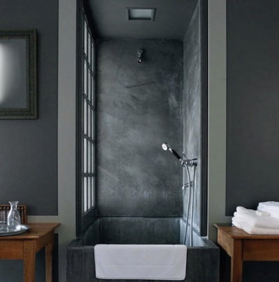 Not the right finishing a bathroom in dark gray tones