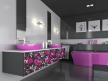 Bathroom - white, gray and purple