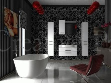 Red accents gray bathroom