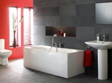 Bathroom - white, gray and red