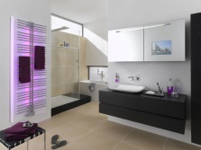 White- gray bathroom and LED panel