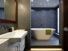 Grey bathroom and its coverage