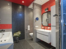 Gray- red bathroom