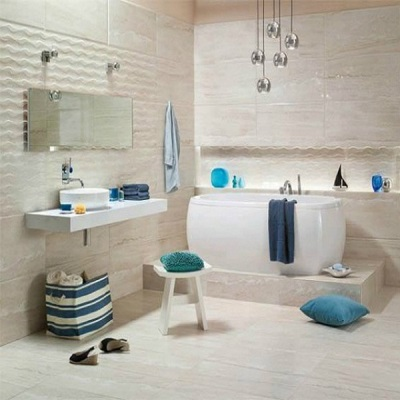 The white color of the bathroom in marine style