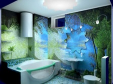 Marine theme on the walls of the bathroom