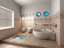 The bright bathrooms with a nautical theme