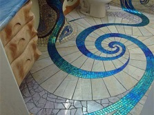 Interesting patterns in a marine style bathroom
