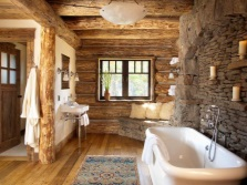 Beautiful wooden tub with a stone