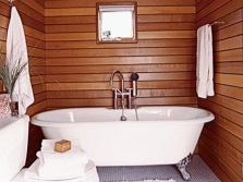 Wooden wall in the bathroom