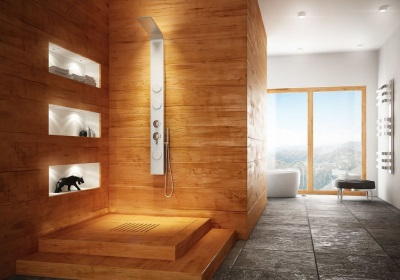 Wooden floors and tiles in the bathroom