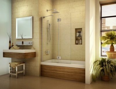 Bathroom with a wooden screen
