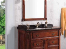 Wooden chest of drawers in the bathroom