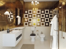 Bathroom design in gold