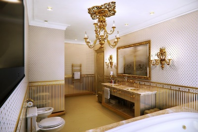 Golden accessories in the bathroom