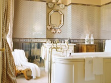 Stylish bathroom with gold