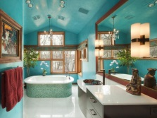 Dark turquoise in the bathroom