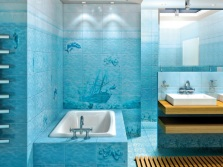 Turquoise bathroom in marine style