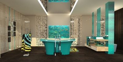 The combination of turquoise and brown bathroom