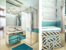 White bathroom with turquoise accent