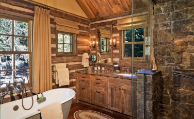 Country style in the design of a small bathroom