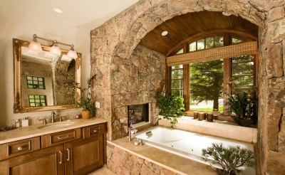 Bathroom with a window in country style