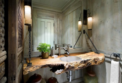 Table top made ​​of wood in the bathroom in a country style