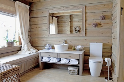 Curtains , bathroom textiles in country style