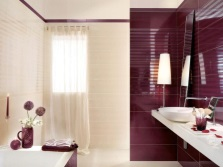 Maroon bathroom with beige