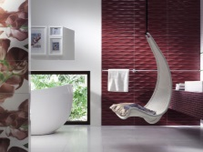 Maroon bathroom with other colors