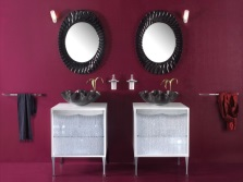 Maroon and brown bathroom