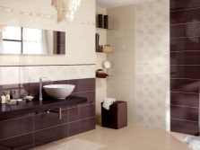 Beige and burgundy bathroom