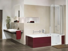 Beige and maroon bath tub