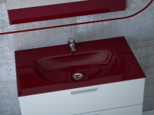 Maroon sink with white furniture