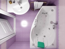 Bathroom 5 square meters - layout with corner bath