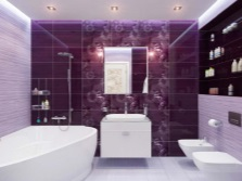 Bathroom 5 square meters - tile decoration, zoning