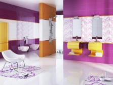 Purple and orange bathroom