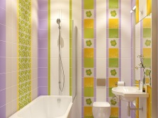 Lilac bathroom with yellow and green