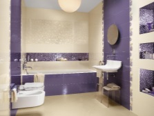 Mauve and beige bathroom