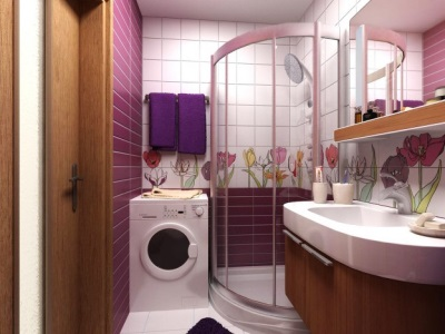 Lilac bathroom and wood furniture