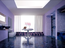 Lilac and purple bathroom design