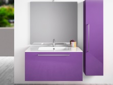 Lilac furniture in bathroom