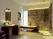 Beautiful bathroom with a stone in the Art Nouveau style