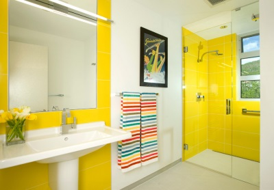 Yellow modern bathroom