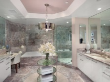 Pink marble bathroom
