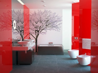 Beautiful modern bathroom with tiles