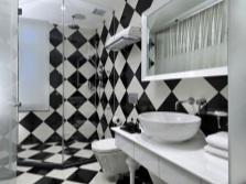 Chess tiles in the bathroom