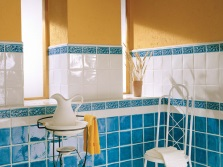 Blue - orange bathroom